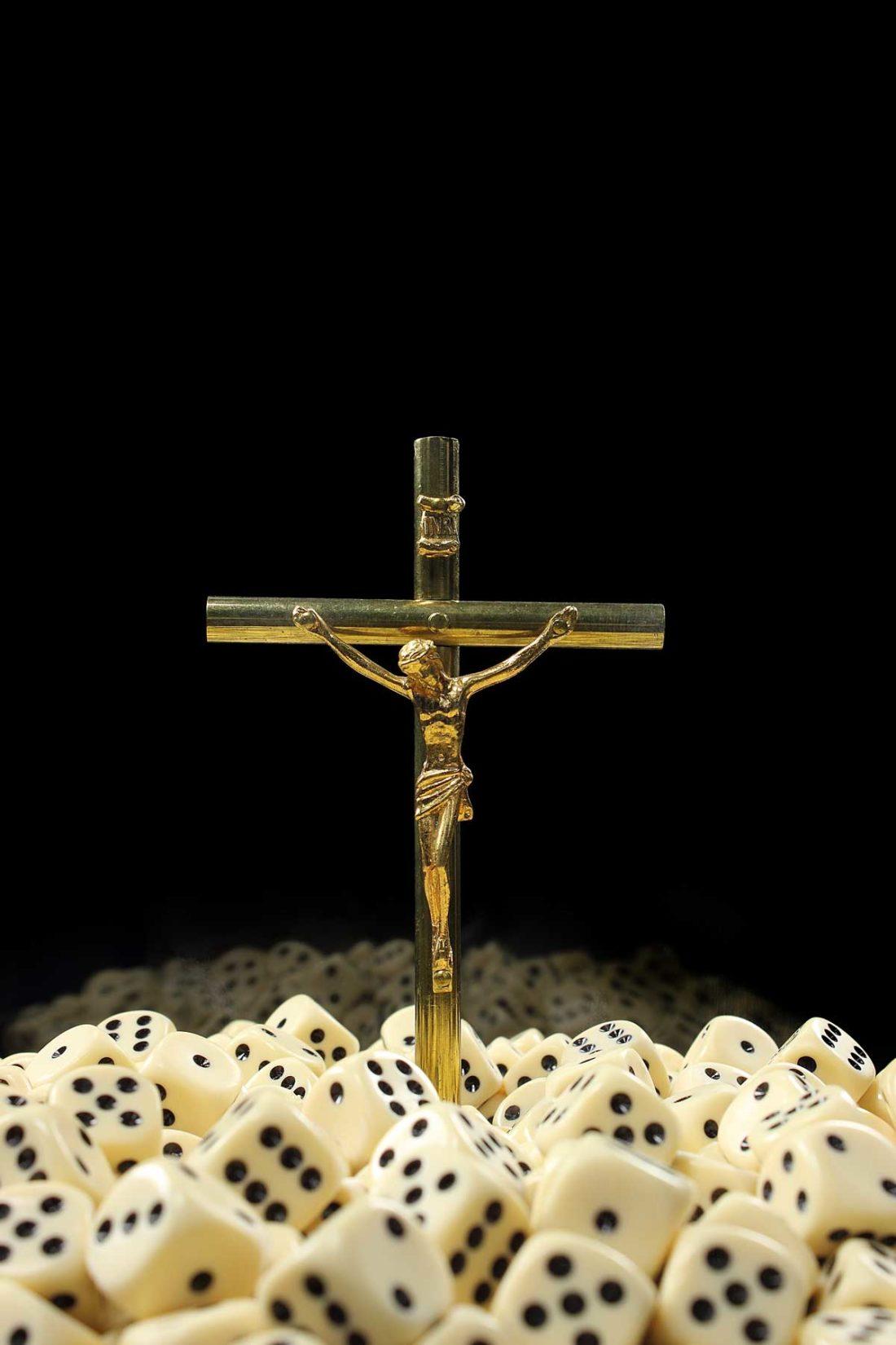 detail artwork crucifix - dice created by meimorettini duo italian artists