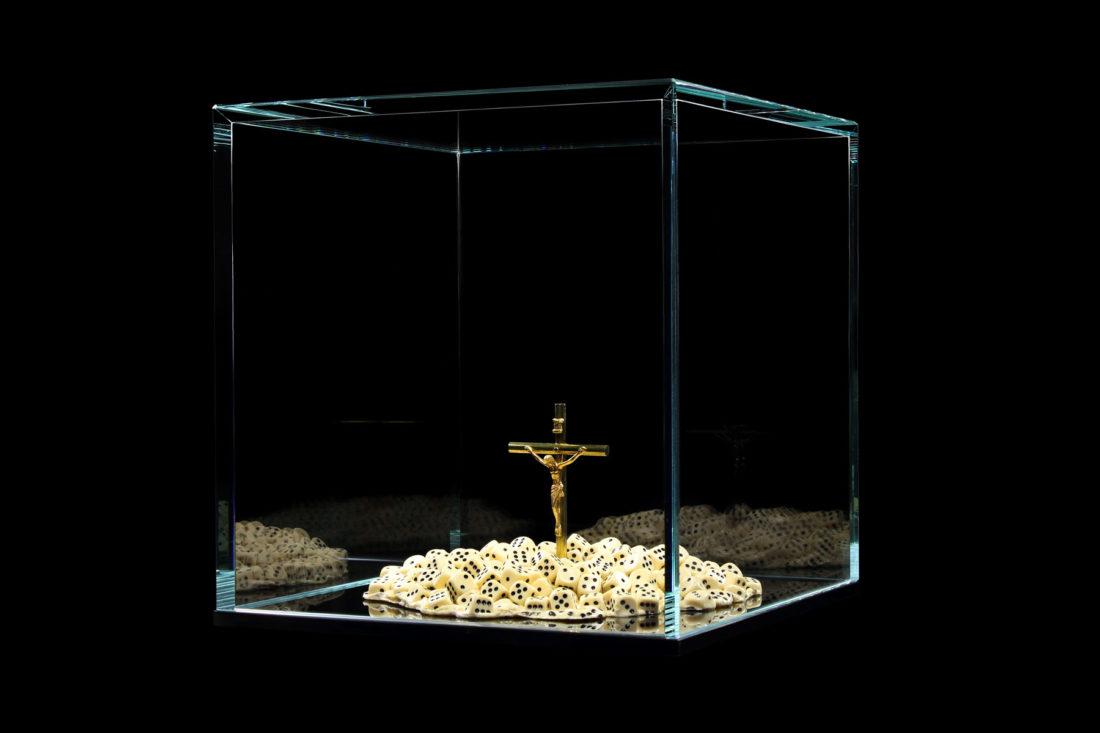 artwork crucifix - dice created by meimorettini duo italian artists