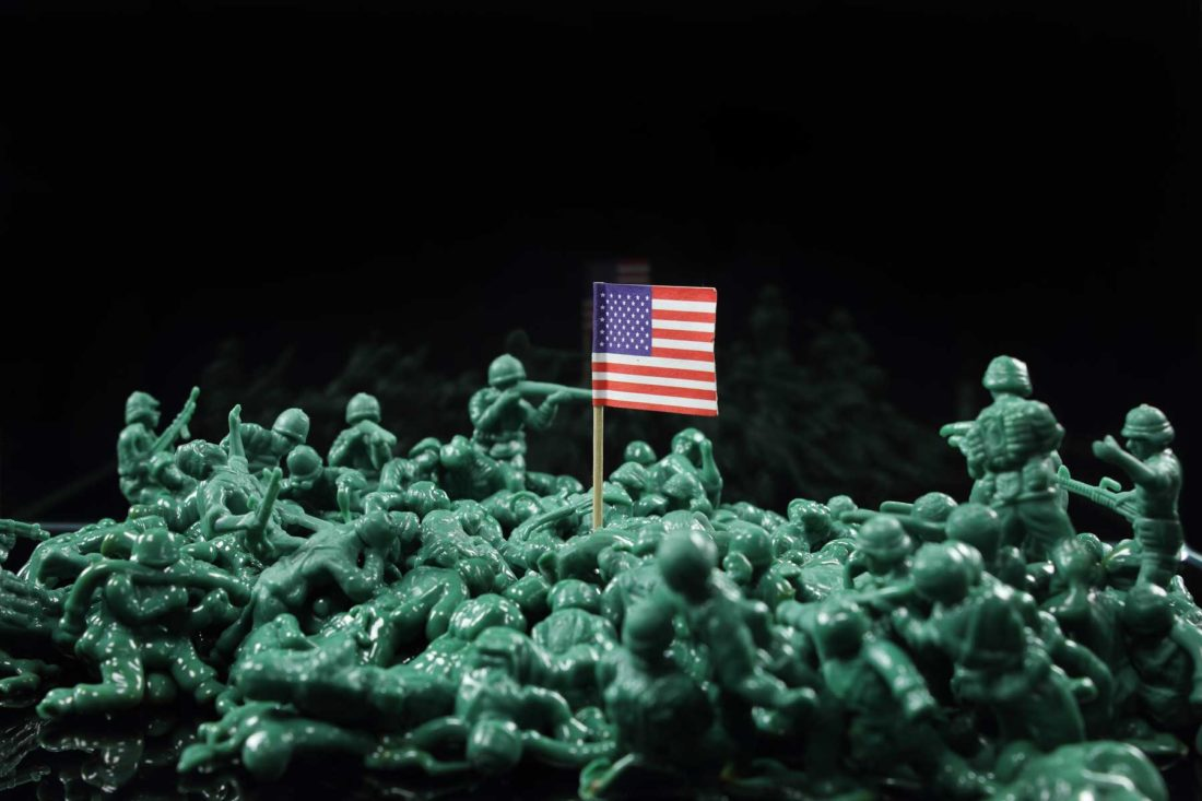 detail artwork sandwich flag - toy soldiers created by meimorettini duo italian artists