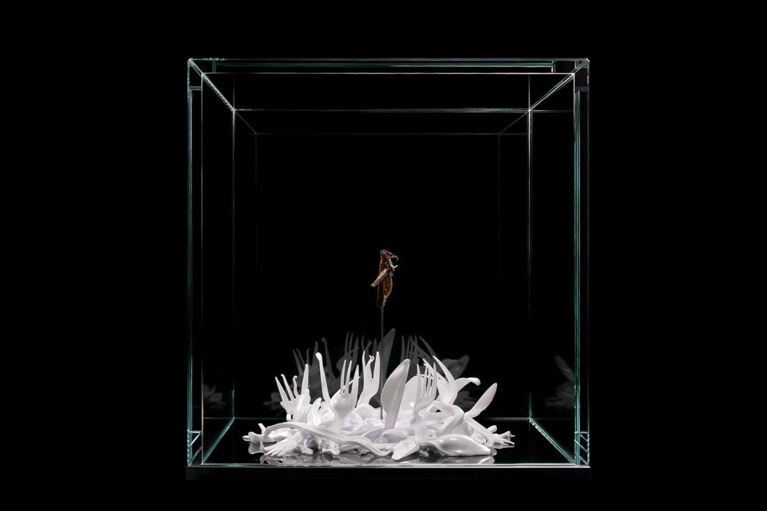 artwork locust - plastic cutlery created by meimorettini duo italian artists
